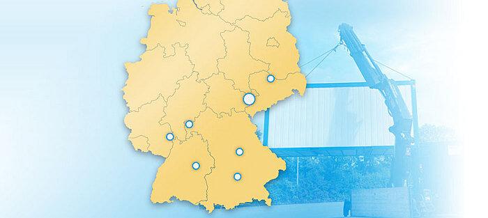 Standorte der KMS Mietcontainer GmbH