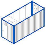 Einzelcontainer mit Windfang und Toilette LWT4