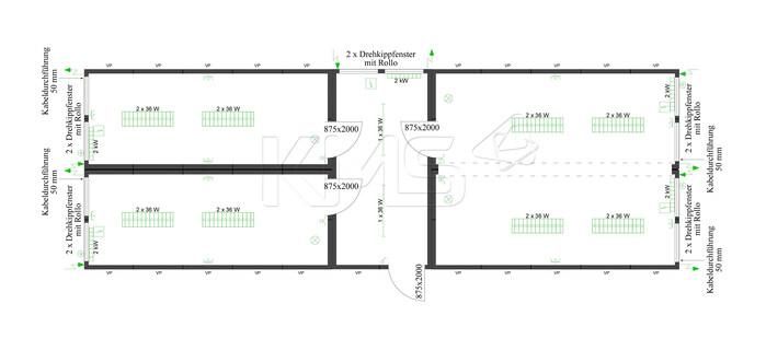 Planungsbeispiel 4er Anlage mit Flurcontainer V1