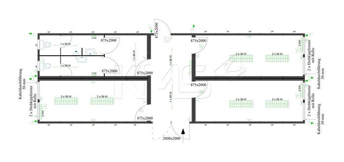 Planungsbeispiel 4er Anlage mit Flurcontainer V3