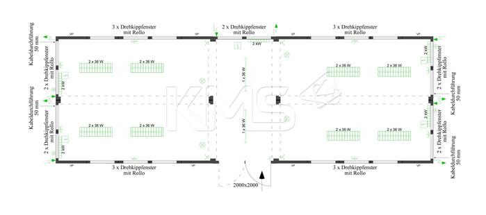 Planungsbeispiel 4er Anlage mit Flurcontainer V4